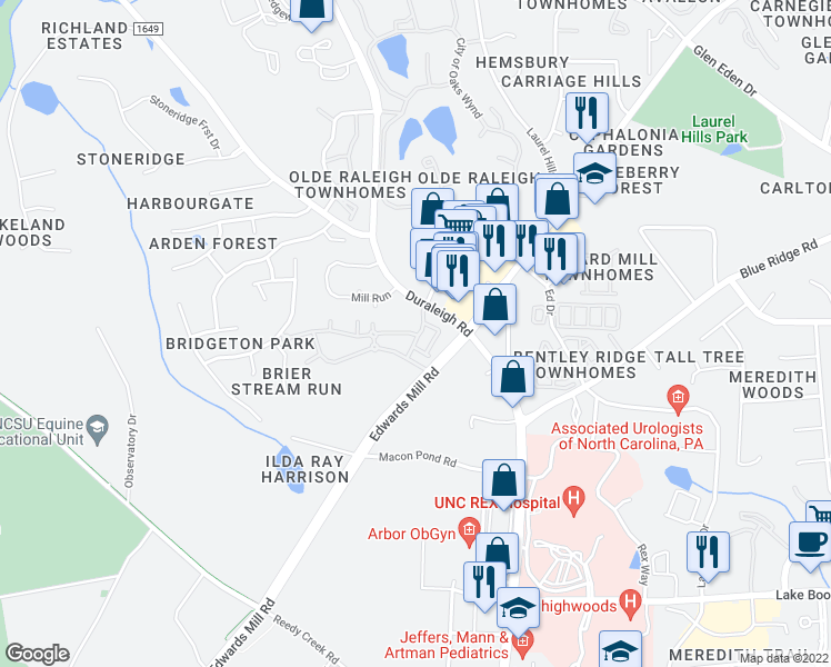 map of restaurants, bars, coffee shops, grocery stores, and more near 3310 Cotton Mill Drive in Raleigh