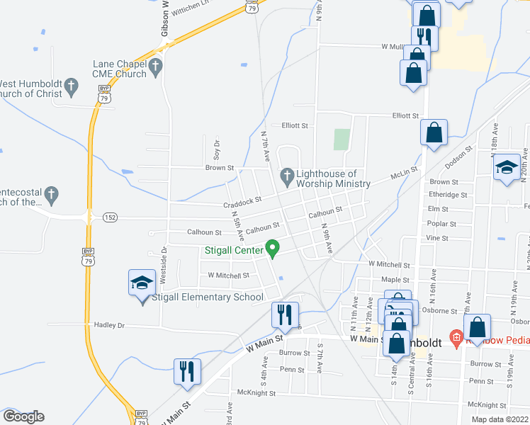 map of restaurants, bars, coffee shops, grocery stores, and more near McLin Street in Humboldt