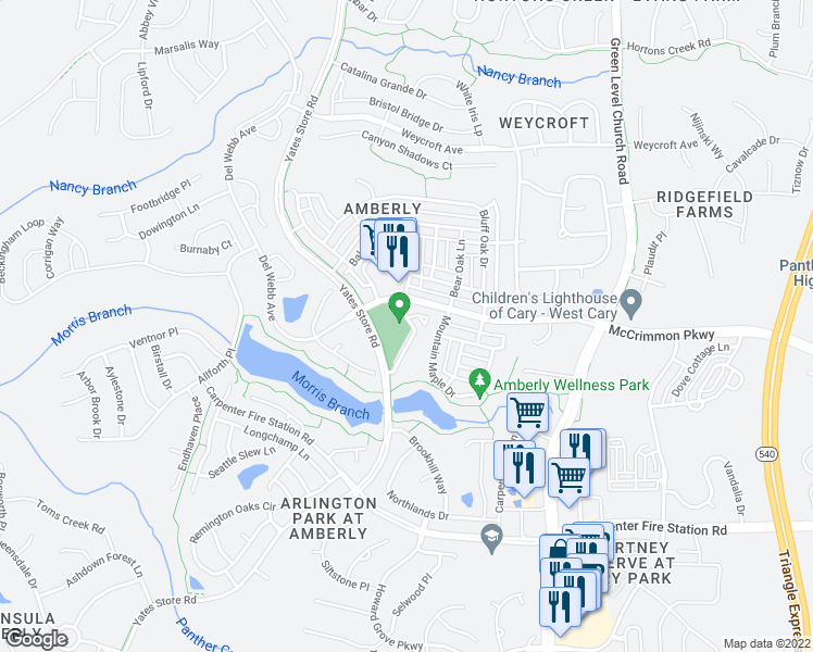 map of restaurants, bars, coffee shops, grocery stores, and more near 1075 Residents Club Drive in Cary