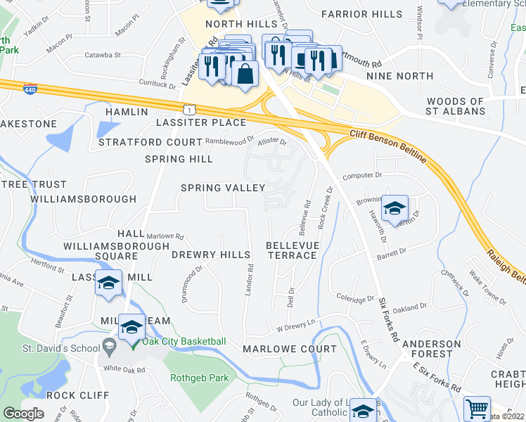 map of restaurants, bars, coffee shops, grocery stores, and more near 3602 Winifred Way in Raleigh