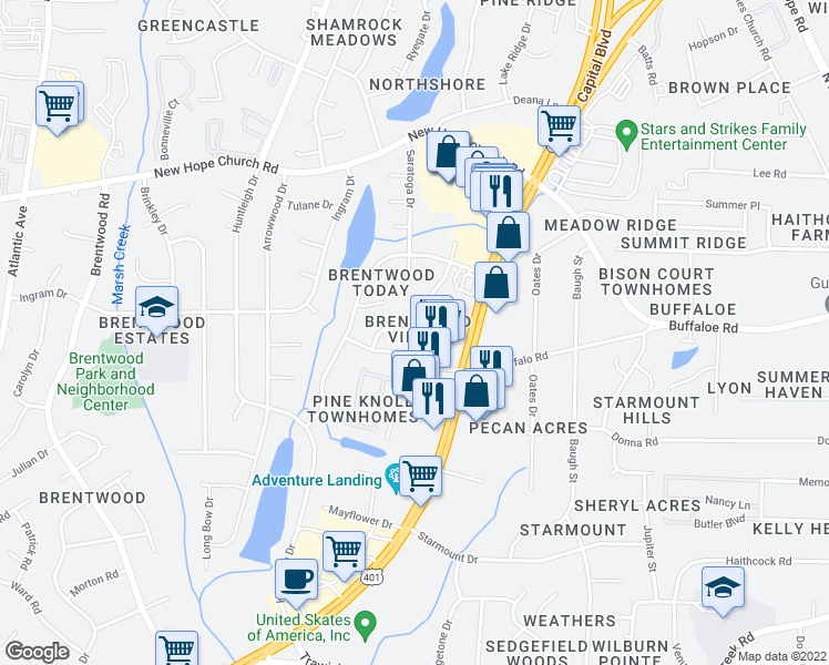 map of restaurants, bars, coffee shops, grocery stores, and more near 3615 Pine Knoll Drive in Raleigh