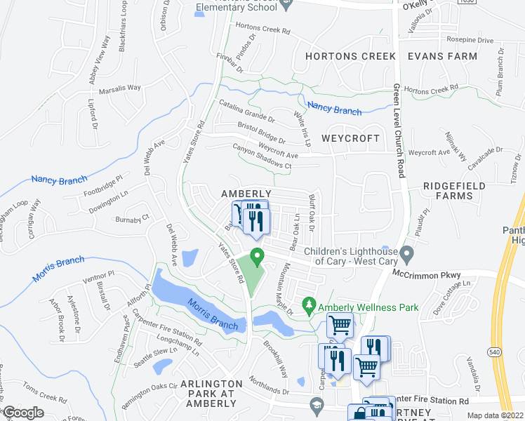 map of restaurants, bars, coffee shops, grocery stores, and more near Balsam Fir Drive in Cary