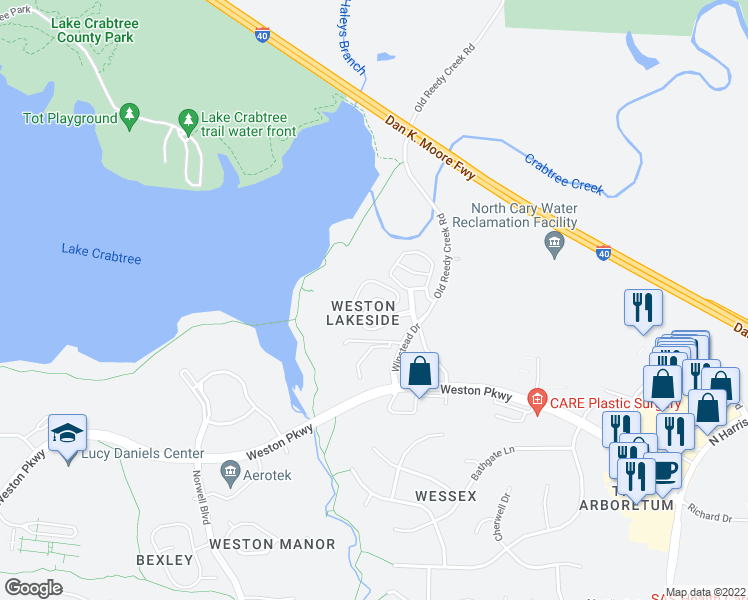 map of restaurants, bars, coffee shops, grocery stores, and more near Umstead Hollow Place in Cary