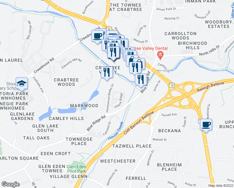 map of restaurants, bars, coffee shops, grocery stores, and more near 4451 Vilana Ridge in Raleigh
