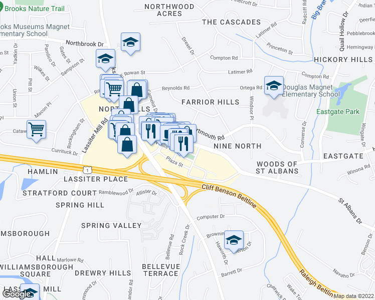 map of restaurants, bars, coffee shops, grocery stores, and more near 201 Park Avenue in Raleigh