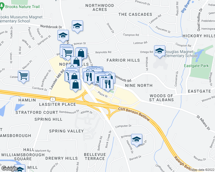 map of restaurants, bars, coffee shops, grocery stores, and more near 4020 Market at North Hills Street in Raleigh