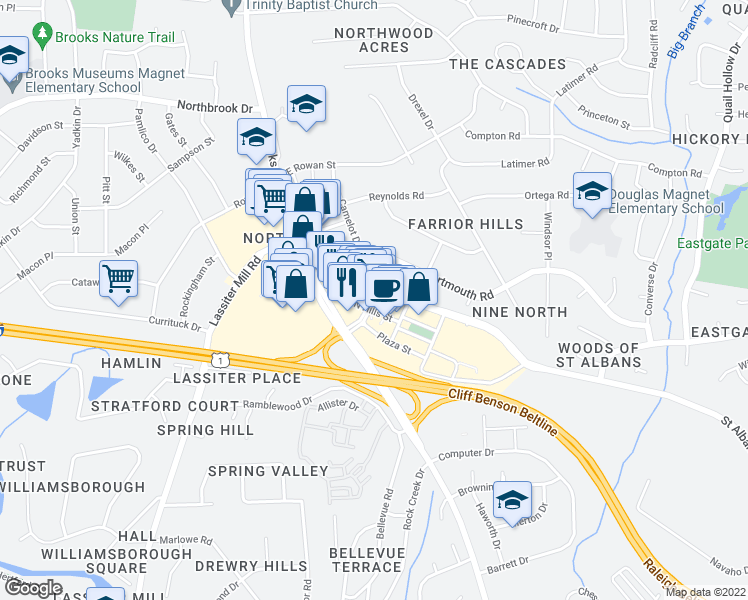 map of restaurants, bars, coffee shops, grocery stores, and more near 141 Park at North Hills Street in Raleigh