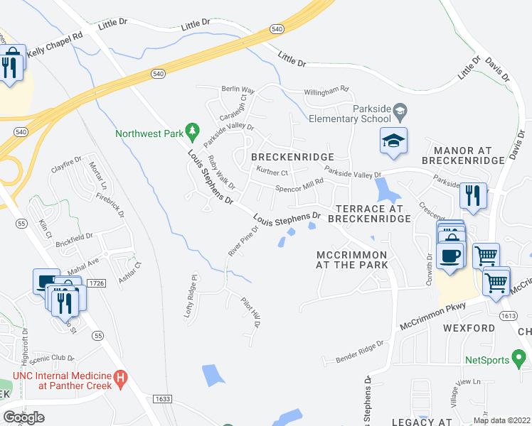 map of restaurants, bars, coffee shops, grocery stores, and more near 112 Bristolwood Circle in Morrisville