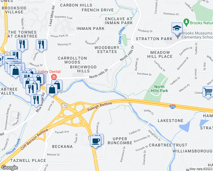 map of restaurants, bars, coffee shops, grocery stores, and more near 1810 Generation Drive in Raleigh