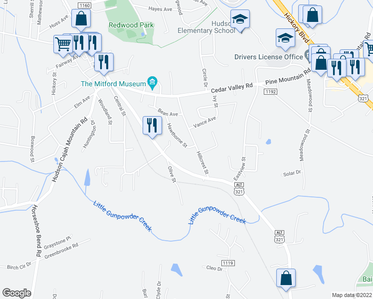 Hudson Nc Map.633 Hawthorne Street Hudson Nc Walk Score