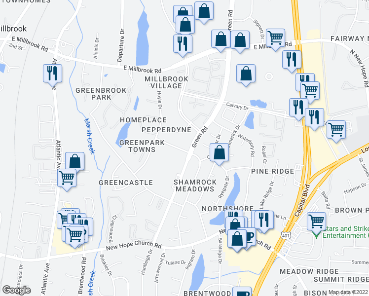 map of restaurants, bars, coffee shops, grocery stores, and more near 4616 Kilcullen Drive in Raleigh