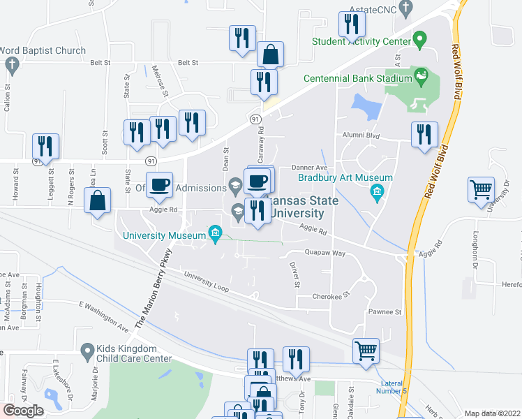 map of restaurants, bars, coffee shops, grocery stores, and more near in Jonesboro