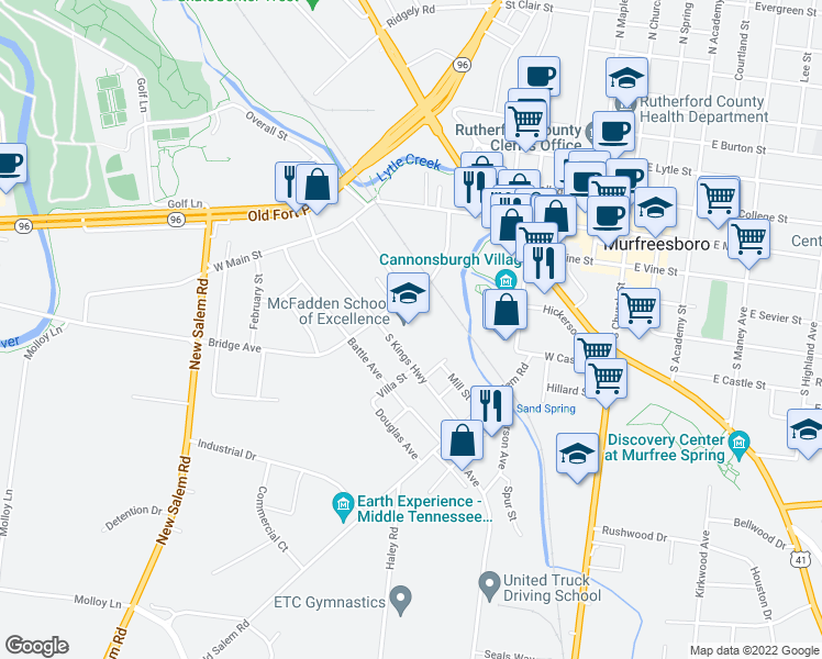 map of restaurants, bars, coffee shops, grocery stores, and more near 221 Bridge Avenue in Murfreesboro
