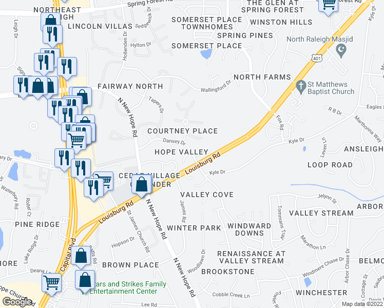 map of restaurants, bars, coffee shops, grocery stores, and more near 4612 Dansey Drive in Raleigh