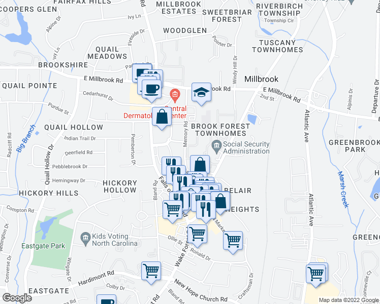 map of restaurants, bars, coffee shops, grocery stores, and more near 1500 Sunbow Falls Lane in Raleigh
