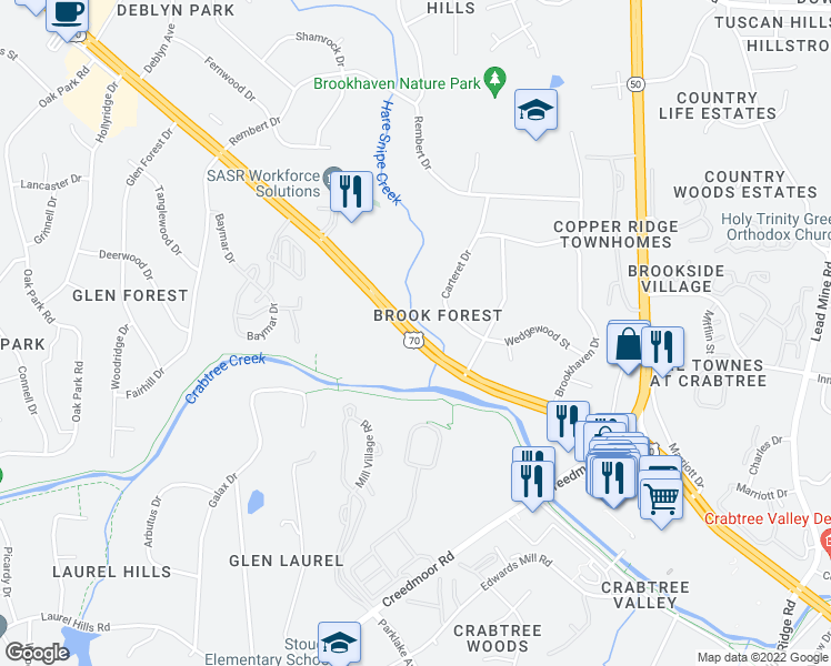 map of restaurants, bars, coffee shops, grocery stores, and more near 4821 Carteret Drive in Raleigh