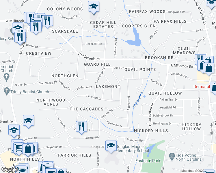 map of restaurants, bars, coffee shops, grocery stores, and more near 4809-4815 Stonehill Drive in Raleigh