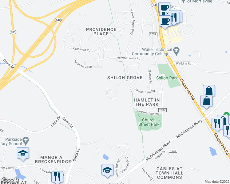 map of restaurants, bars, coffee shops, grocery stores, and more near Suffolk Green Lane in Morrisville