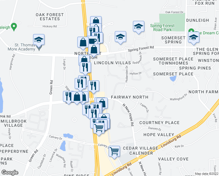 map of restaurants, bars, coffee shops, grocery stores, and more near 5072 North New Hope Road in Raleigh