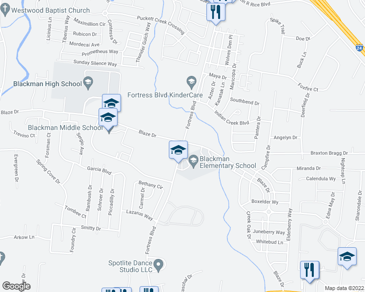 map of restaurants, bars, coffee shops, grocery stores, and more near 591 Fortress Boulevard in Murfreesboro