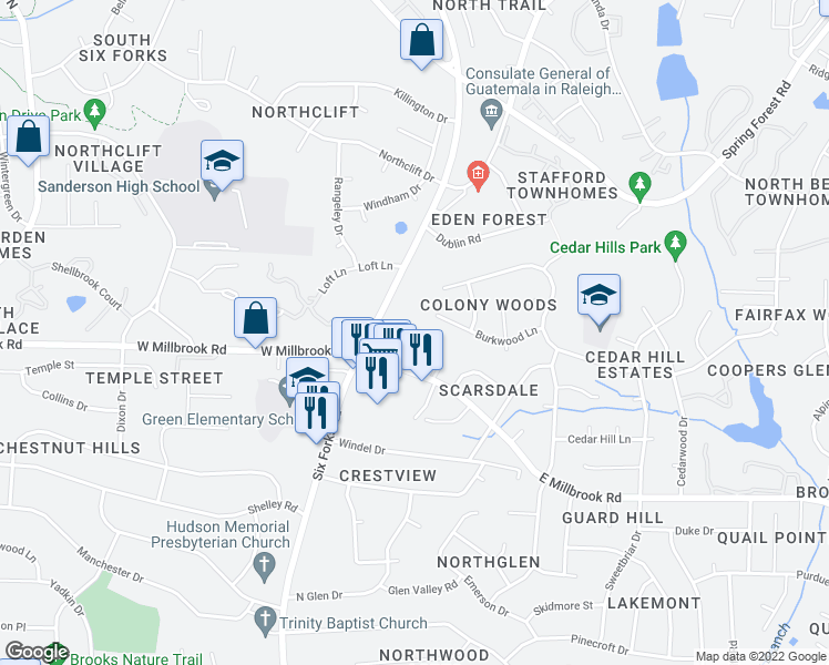 map of restaurants, bars, coffee shops, grocery stores, and more near 5581 Burnlee Place in Raleigh