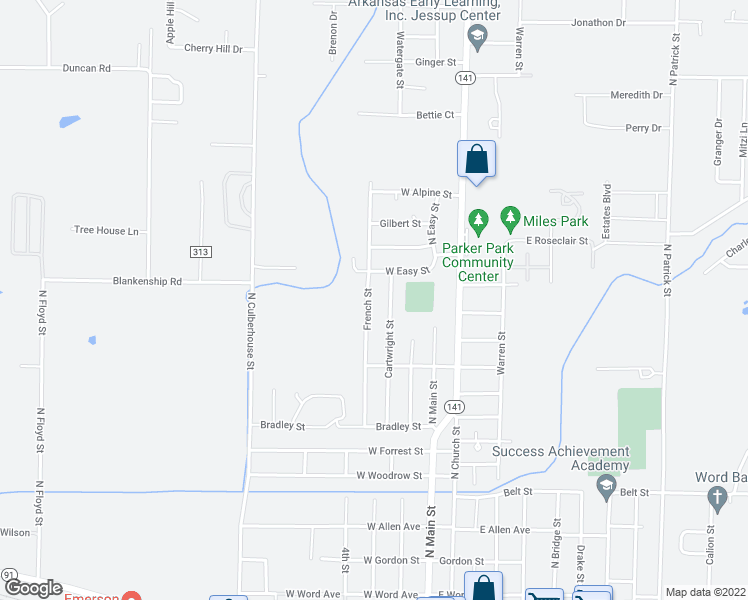 map of restaurants, bars, coffee shops, grocery stores, and more near 1208 French Street in Jonesboro