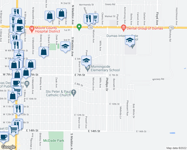map of restaurants, bars, coffee shops, grocery stores, and more near Morton Avenue in Dumas