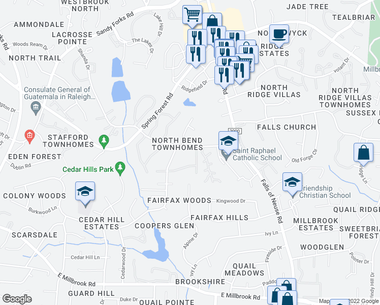 map of restaurants, bars, coffee shops, grocery stores, and more near 1022 North Bend Drive in Raleigh
