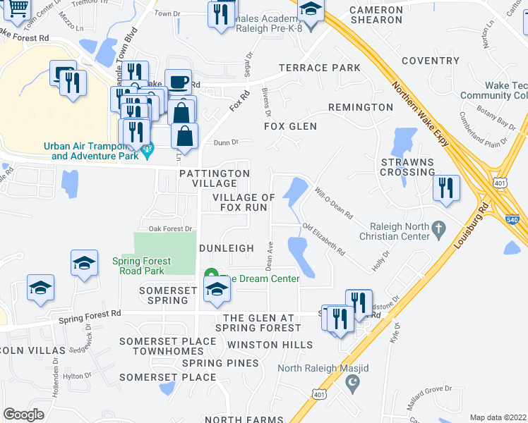 map of restaurants, bars, coffee shops, grocery stores, and more near 5905 Dean Avenue in Raleigh