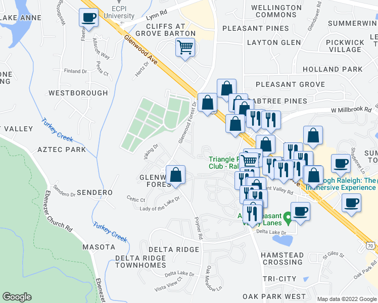 map of restaurants, bars, coffee shops, grocery stores, and more near 4621 Springerly Lane in Raleigh