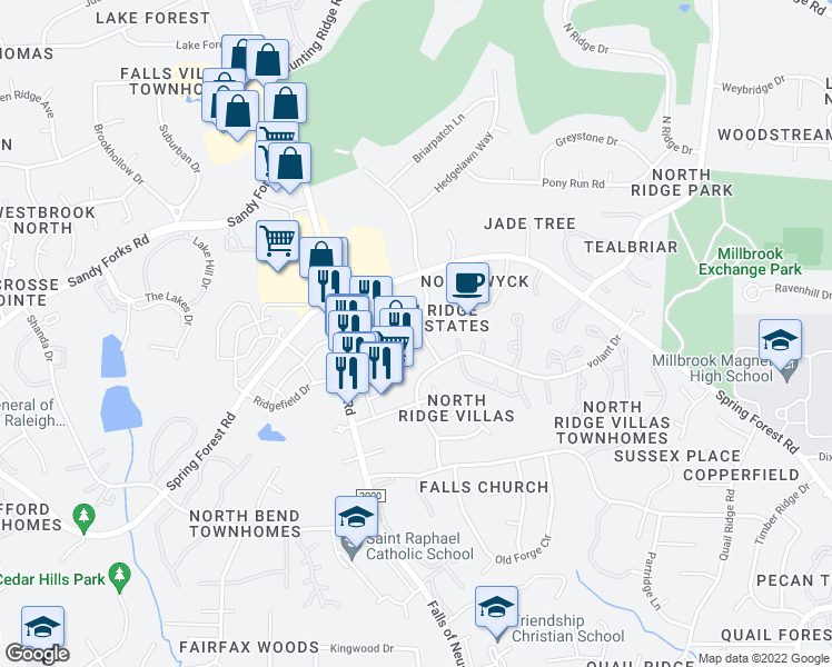 map of restaurants, bars, coffee shops, grocery stores, and more near 6117 New Market Way in Raleigh