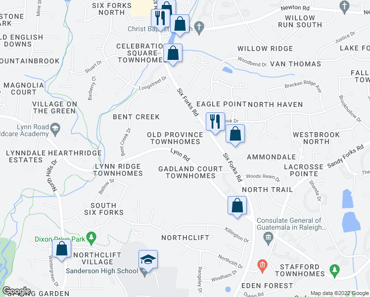 map of restaurants, bars, coffee shops, grocery stores, and more near 512 Lynn Road in Raleigh