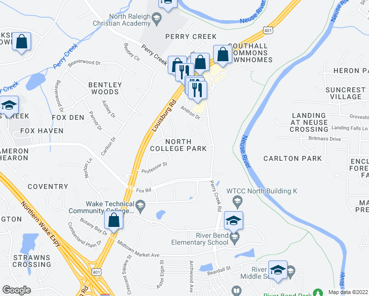 map of restaurants, bars, coffee shops, grocery stores, and more near Virgilia Court in Raleigh