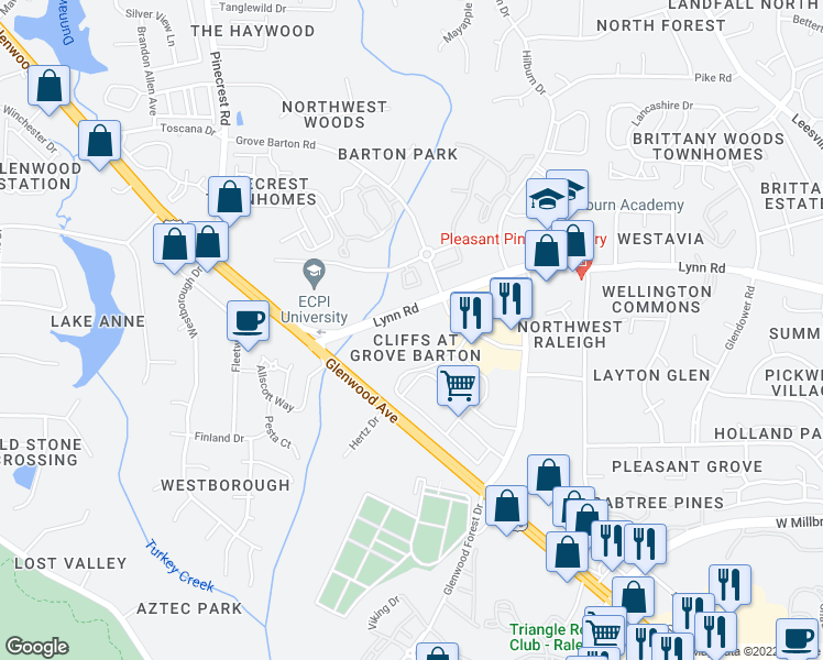 map of restaurants, bars, coffee shops, grocery stores, and more near 4001 Lynn Road in Raleigh
