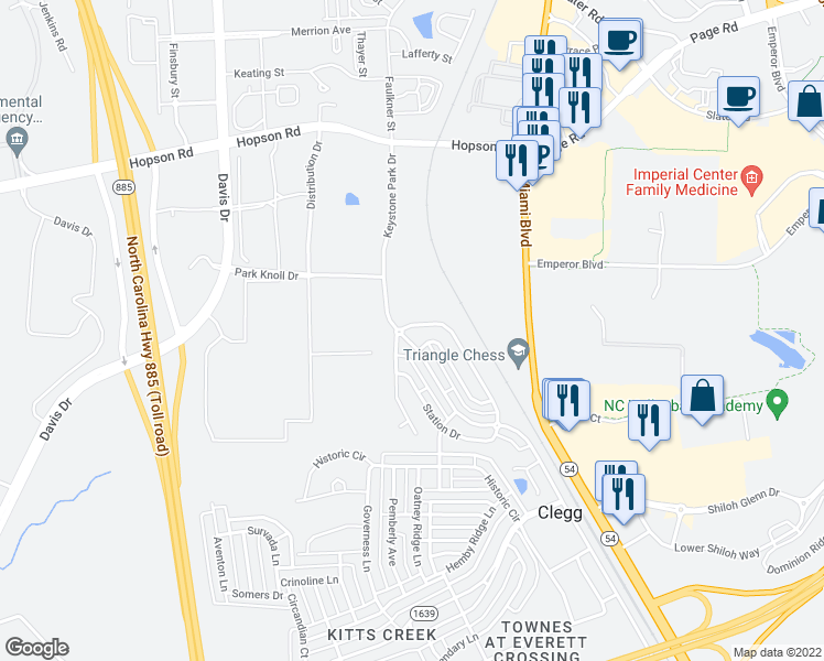 map of restaurants, bars, coffee shops, grocery stores, and more near 711 Keystone Park Drive in Morrisville