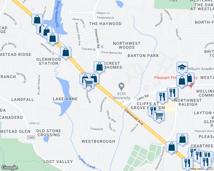 map of restaurants, bars, coffee shops, grocery stores, and more near 7912 Glenwood Avenue in Raleigh