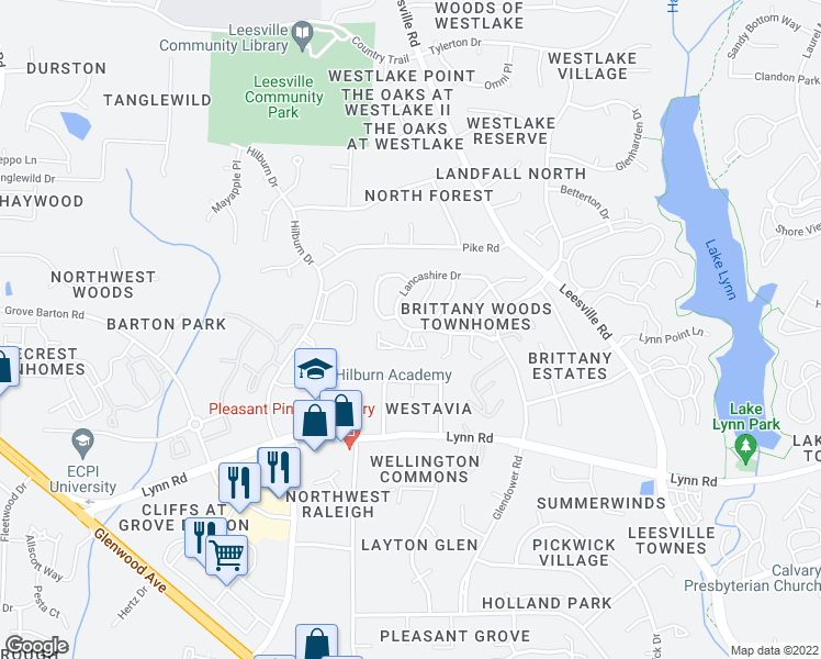 map of restaurants, bars, coffee shops, grocery stores, and more near Lancashire Dr & Epping Forest Dr in Raleigh