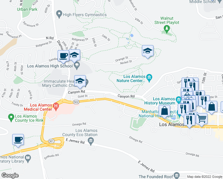 map of restaurants, bars, coffee shops, grocery stores, and more near 3200 Canyon Road in Los Alamos