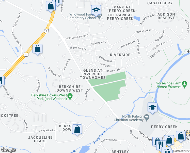 map of restaurants, bars, coffee shops, grocery stores, and more near 5264 Patuxent Drive in Raleigh