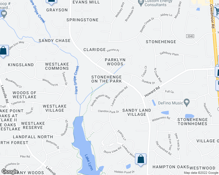 map of restaurants, bars, coffee shops, grocery stores, and more near Sutcliffe Drive in Raleigh