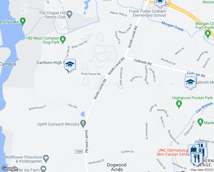 map of restaurants, bars, coffee shops, grocery stores, and more near 100 Woodcrest Drive in Chapel Hill