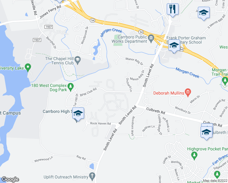 map of restaurants, bars, coffee shops, grocery stores, and more near 142 BPW Club Road in Carrboro