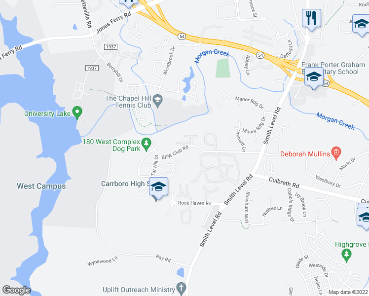 map of restaurants, bars, coffee shops, grocery stores, and more near 180 Bpw Club Road in Carrboro