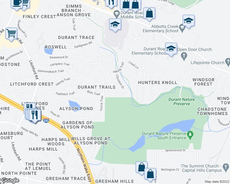 map of restaurants, bars, coffee shops, grocery stores, and more near 8513 Powis Circle in Raleigh