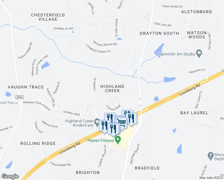 map of restaurants, bars, coffee shops, grocery stores, and more near 4312 Burchard Drive in Raleigh