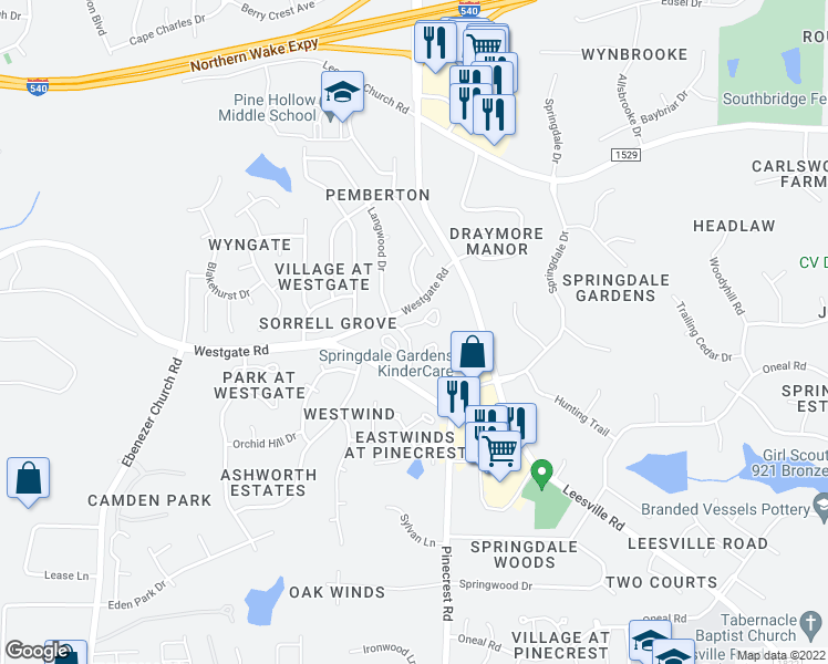 map of restaurants, bars, coffee shops, grocery stores, and more near 8924 Langwood Drive in Raleigh