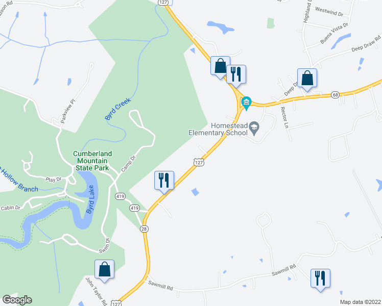 map of restaurants, bars, coffee shops, grocery stores, and more near 4112 U.S. 127 in Crossville