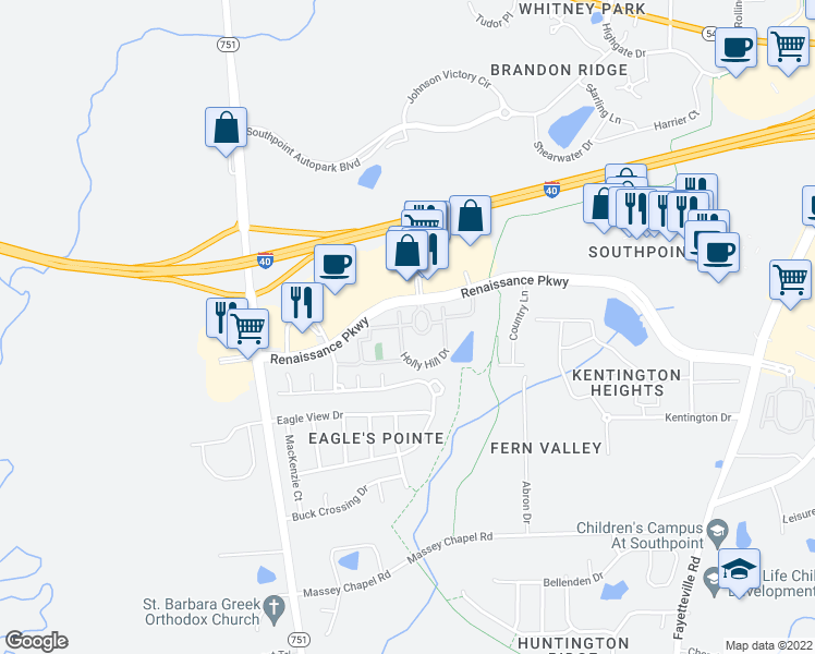 map of restaurants, bars, coffee shops, grocery stores, and more near 1300 Knoll Circle in Durham