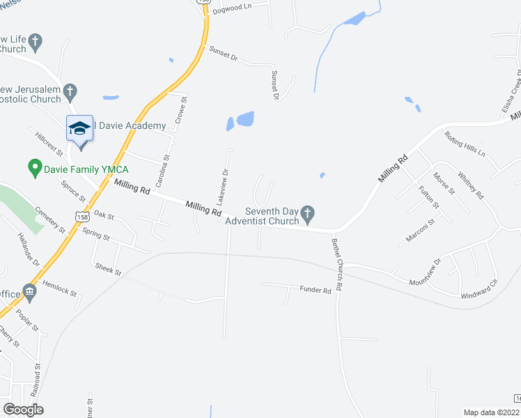 map of restaurants, bars, coffee shops, grocery stores, and more near 387 Milling Road in Mocksville