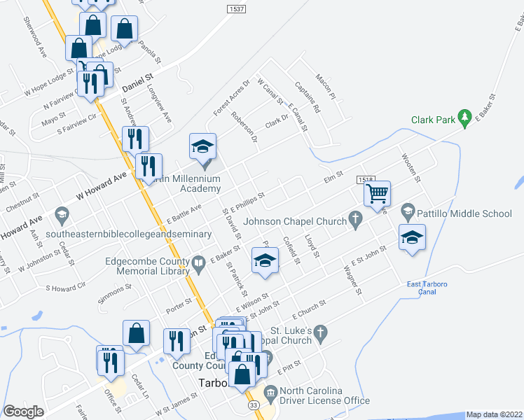 map of restaurants, bars, coffee shops, grocery stores, and more near 902 Romaine Street in Tarboro